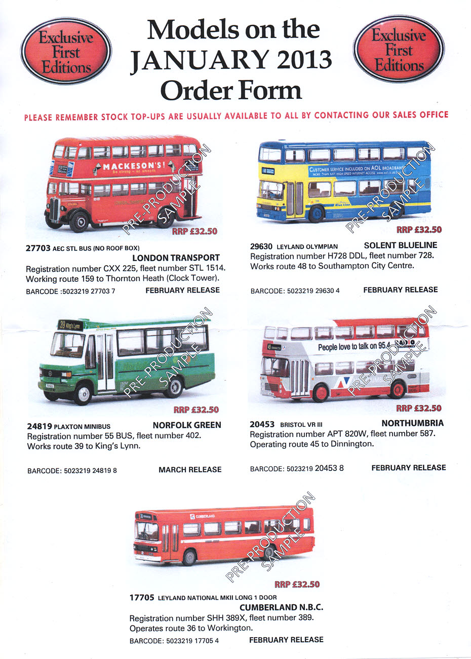 Model Bus Zone News January 2013